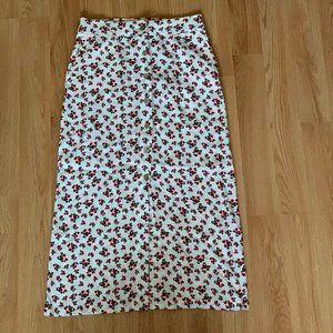 Dresses & Skirts - White and Red Floral Maxi Skirt